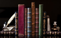 Old vintage books. On black royalty free stock photo