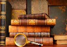 Old vintage books in cabinet. Old vintage books on shelf in the cabinet Royalty Free Stock Photo