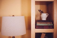 Old Vintage Books Case Wood Shelf Ikea Lamp Royalty Free Stock Photography