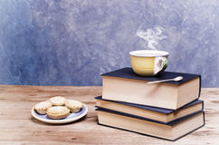 Old vintage books, plate with mince pies and cup of tee with ste Stock Photography
