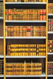 Old Vintage Books On Wooden Shelfs In Library Royalty Free Stock Photography