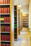 Old Vintage Books On Wooden Shelfs In Library Stock Image