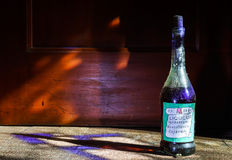 Old vintage bottle of homemade liqueue Stock Image