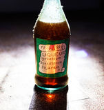 Old vintage bottle of homemade liqueue Stock Photos