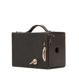 Old vintage box camera in detail on white backgrou Royalty Free Stock Photo