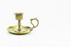 Old vintage brass candle stick, holder on white background Stock Photos