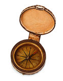 Old vintage brass compass in a leather case isolated on a white background. Royalty Free Stock Images