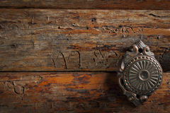 Old, vintage, brass door handle Royalty Free Stock Photo