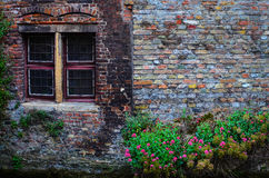Old vintage brick wall with rusty window and flowers Royalty Free Stock Photos