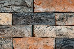 Old vintage brick wall surface texture background, grunge rough concrete blocks backdrop for design. Close up stock photos