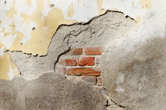 Old vintage brick wall texture with white stucco Stock Photography
