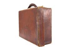 Old vintage brown battered suitcase Stock Photo