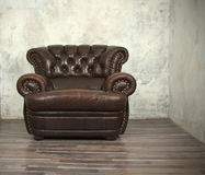 Old vintage brown leather chair Stock Image