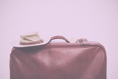 Old vintage brown leather suitcase ready for travelling Vintage Royalty Free Stock Image