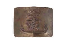 Old vintage buckle from soviet navy uniform Stock Photography