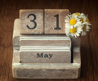 Old vintage calender showing the date 31st of May Royalty Free Stock Photos