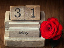 Old vintage calender showing the date 31st of May Royalty Free Stock Photography