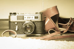 Old vintage camera Fet-5 Stock Photo