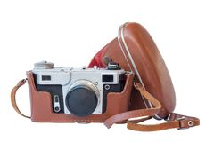 Old vintage camera in leather case Royalty Free Stock Photo