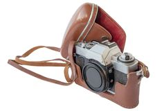 Old vintage camera in leather case Royalty Free Stock Images