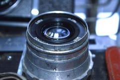 Old vintage camera lens close-up stock photos