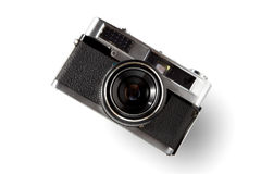 Old vintage camera. Old rangefinder vintage camera on white background Royalty Free Stock Photography