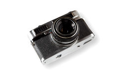 Old vintage camera. Old rangefinder vintage camera on white background Stock Photography