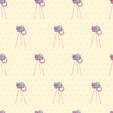 Old vintage camera Seamless Background. Vector illustration. Sea Stock Photography