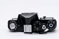 Old Soviet Zenit TTL 35 mm film camera isolated on white. Old vintage camera Stock Photos