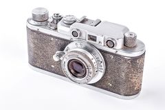Old vintage camera, white background. Rangefinder retro camera over white background Royalty Free Stock Image