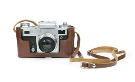 Old vintage camera white isolated Royalty Free Stock Image