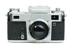 Old vintage camera white isolated Stock Photos