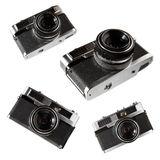 Old vintage cameras. Old rangefinder vintage cameras on white background Stock Photography