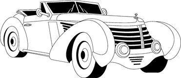 Old vintage car. Old classic vintage car drown in black on white Stock Photo
