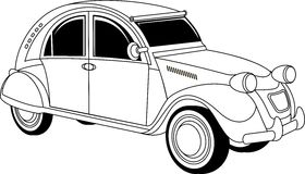 Old vintage car. Old classic vintage car drown in black on white Stock Photography