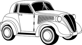 Old vintage car. Old classic vintage car drown in black on white Stock Photos