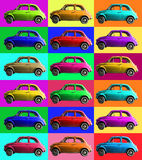 Old vintage car collage colorful. Italian industry. On coloured cells. A small, antique car vintage Italian-made of white cropped. Composition of small vintage Stock Photos