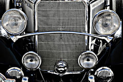 Old vintage car engine front. Black car front. An old automobile fron the 20´s Stock Photos