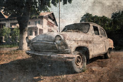 Old vintage car, grunge postcard Royalty Free Stock Photos