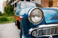 Old vintage car headlight close up. Stock Image