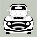 Old vintage car ,vector illustration ,lining draw ,front. Side royalty free illustration