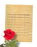 Old vintage card with a beautiful red rose on paper Royalty Free Stock Images