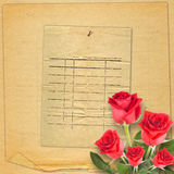 Old vintage card with beautiful red rose on paper background Stock Photo