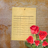 Old vintage card with a beautiful red rose on paper Royalty Free Stock Photos