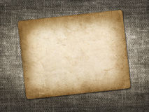 Old vintage card on linen grungy background Stock Photography