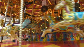 Old vintage carousel spinning stock video