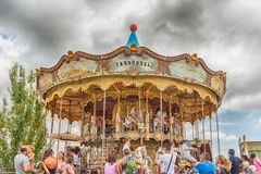 Old vintage carousel at Tibidabo Amusement Park, Barcelona, Cata Royalty Free Stock Images