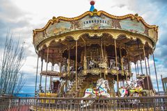 Old vintage carousel in Tibidabo park in Barcelona Stock Photography