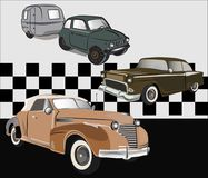 Old Vintage cars vector. Print for poster or t-shirt. Use in the production of goods, clothing and art objects or a on websites or in print project templates stock illustration