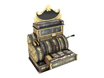 Old vintage cash register 3d render on white background no shado. Old vintage cash register 3d render on white Royalty Free Stock Photography